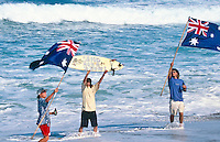 Mark 'Occy' Occhilupo (AUS) seems to have a special sort of fan, These guys turn up each year to the Rip Curl Pro at Bells Beach to cheer and support Occy in his quest for a win. They have done nude runs along the beach at Bells with  'Go Occy' painted on their backs. circa 1999 Photo: joliphotos.com
