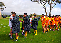 The teams shake hands after the rugby match between  New Zealand Schools Barbarians and NZ Maori Under-18 at the Sport and Rugby Institute in Palmerston North, New Zealand on Monday, 2 October 2017. Photo: Dave Lintott / lintottphoto.co.nz