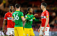 Preston North End's Daniel Johnson tries to reason with Middlesbrough's Daniel Ayala after he was shown a red card<br /> <br /> Photographer Alex Dodd/CameraSport<br /> <br /> The EFL Sky Bet Championship - Middlesbrough v Preston North End - Wednesday 13th March 2019 - Riverside Stadium - Middlesbrough<br /> <br /> World Copyright &copy; 2019 CameraSport. All rights reserved. 43 Linden Ave. Countesthorpe. Leicester. England. LE8 5PG - Tel: +44 (0) 116 277 4147 - admin@camerasport.com - www.camerasport.com