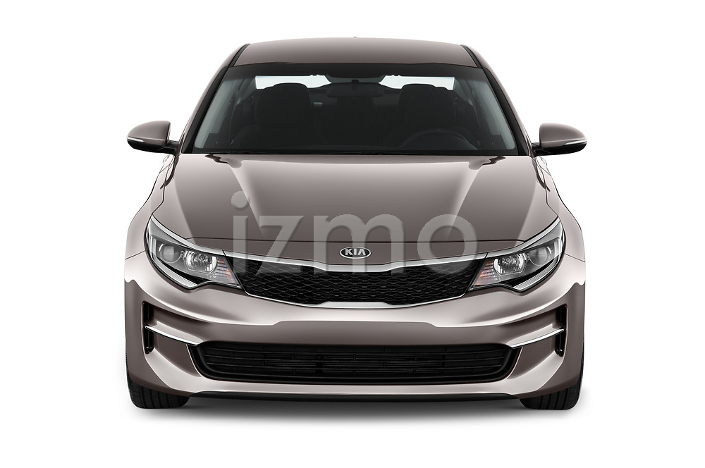 Car photography straight front view of a 2018 KIA Optima LX 4 Door Sedan Front View