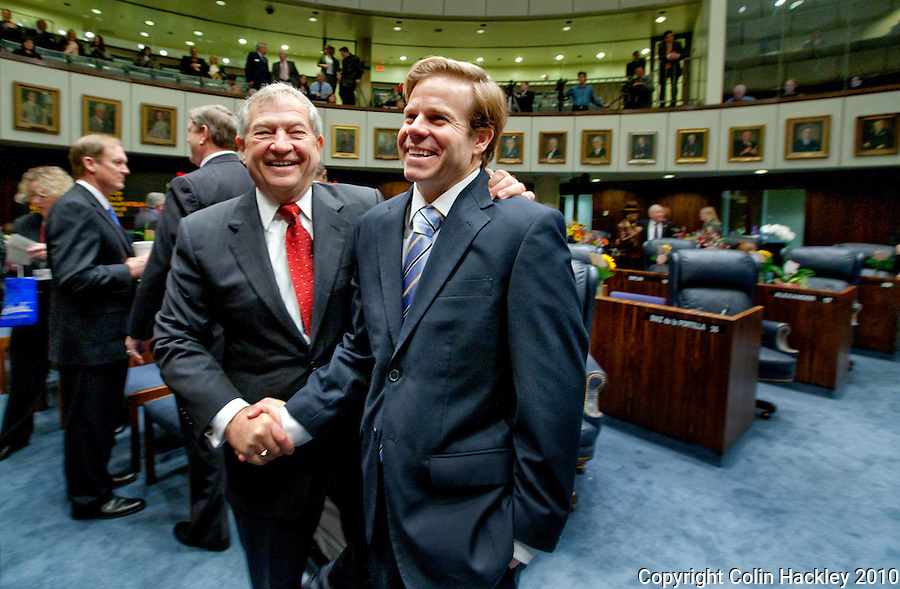 TALLAHASSEE, FLA. 3/2/10-OPENING DAY CH13-Sen. Michael Bennett, R-Bradenton, left, and Sen. Mike Haridopolos, R-Melbourne, during the opening day of the legislative session, Tuesday at the Capitol in Tallahassee...COLIN HACKLEY PHOTO