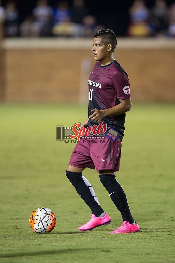 Edson Cardona (11) of the Santa Clara Broncos during second half action against the Wake Forest Demon Deacons at Spry Soccer Stadium on August 28, 2015 in Winston-Salem, North Carolina.  The Demon Deacons defeated the Broncos 1-0.  (Brian Westerholt/Sports On Film)