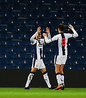 West Bromwich Albion U18's Jamie Soule, left` celebrates scoring his side's second goal with team-mate Zak Brown<br /> <br /> Photographer Andrew Vaughan/CameraSport<br /> <br /> FA Youth Cup Round Three - West Bromwich Albion U18 v Lincoln City U18 - Tuesday 11th December 2018 - The Hawthorns - West Bromwich<br />  <br /> World Copyright &copy; 2018 CameraSport. All rights reserved. 43 Linden Ave. Countesthorpe. Leicester. England. LE8 5PG - Tel: +44 (0) 116 277 4147 - admin@camerasport.com - www.camerasport.com