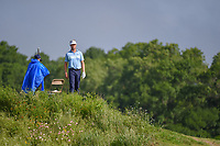 Harris English (USA) looks from atop a hill to see if the green on 14 is clear during the round 1 of the AT&T Byron Nelson, Trinity Forest Golf Club, Dallas, Texas, USA. 5/9/2019.<br /> Picture: Golffile | Ken Murray<br /> <br /> <br /> All photo usage must carry mandatory copyright credit (© Golffile | Ken Murray)