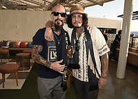 "LOS ANGELES - AUGUST 21: Joseph Lucero and Richard Cabral at FX's ""Mayans M.C."" Activation at Los Angeles Football Club at Banc of California Stadium on August 21, 2019 in Los Angeles, California. (Photo by Scott Kirkland/FX Networks/PictureGroup)"