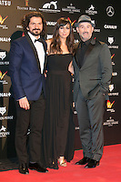 Jorge Torregrossa, Carmen Ruiz and Javier Camara attends the Feroz Cinema Awards 2015 at Las Ventas, Madrid,  Spain. January 25, 2015.(ALTERPHOTOS/)Carlos Dafonte) /NortePhoto<br /> <br /> nortePhoto.com