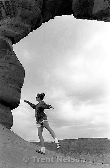 Pat Quayle under Delicate Arch at Arches National Park<br />