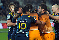 A fight breaks out at the end of the Super Rugby match between the Highlanders and Jaguares at Forsyth Barr Stadium in Dunedin, New Zealand on Saturday, 11 May 2019. Photo: Dave Lintott / lintottphoto.co.nz