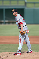 Mesa Solar Sox starting pitcher Kyle McGowin (55) of the Washington Nationals organization, looks to his catcher for the sign during an Arizona Fall League game against the Salt River Rafters on October 30, 2017 at Salt River Fields at Talking Stick in Scottsdale, Arizona. The Solar Sox defeated the Rafters 8-4. (Zachary Lucy/Four Seam Images)
