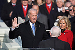 Vice-President Joe Biden, accompanied by his wife, Jill, and his family, is sworn into office by Supreme Court Justice John P. Stevens. The Capitol Building. Washington, DC, January 20, 2009.
