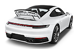 Car stock 2020 Porsche 911 Carrera S 2 Door Coupe engine high angle detail view