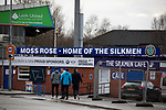 Macclesfield Town 1 Grimsby Town 1, 26/12/2019. Moss Rose, English League 2. Spectators arriving outside the ground before Macclesfield Town played Grimsby Town in a SkyBet League 2 fixture at Moss Rose. The home club had suffered problems in the run up to this fixture with the EFL deducting points after they failed to pay staff and they had a game postponed. This match ended in a 1-1 draw, watched by a crowd of 1,991. Photo by Colin McPherson.