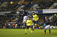 Millwall's Ryan Tunnicliffe heads clear of Blackburn Rovers' Bradley Dack<br /> <br /> Photographer Rob Newell/CameraSport<br /> <br /> The EFL Sky Bet Championship - Millwall v Blackburn Rovers - Saturday 12th January 2019 - The Den - London<br /> <br /> World Copyright &copy; 2019 CameraSport. All rights reserved. 43 Linden Ave. Countesthorpe. Leicester. England. LE8 5PG - Tel: +44 (0) 116 277 4147 - admin@camerasport.com - www.camerasport.com