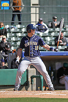 University of Pittsburgh Panthers designated hitter Steven Shelinsky, Jr. at bat during a game against the Coastal Carolina University Chanticleers at Ticketreturn.com Field at Pelicans Ballpark on February 16, 2014 in Myrtle Beach, South Carolina. Pittsburgh defeated Coastal Carolina by the score of 10-6. (Robert Gurganus/Four Seam Images)