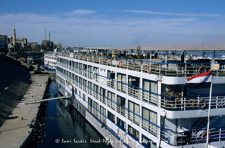 Cruise ship docked on the Nile River, Esna, Egypt.