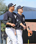 (L-R) Hiroki Kuroda, Masahiro Tanaka (Yankees),<br /> FEBRUARY 15, 2014 - MLB :<br /> New York Yankees spring training camp in Tampa, Florida, United States. (Photo by AFLO)