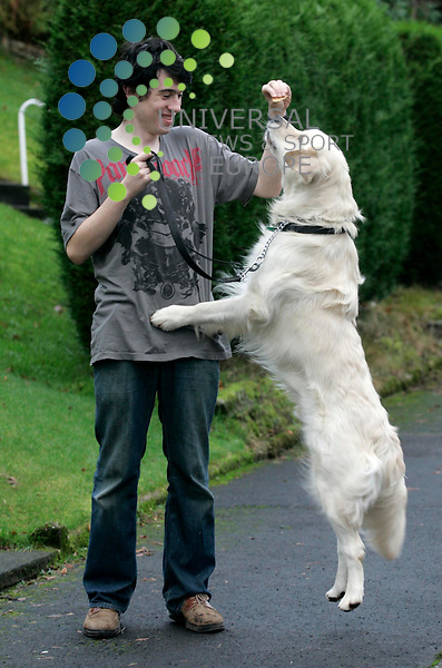 """Dale Gardner (18) with Henry the dog from Gourock in Scotland...""""After Thomas"""" is the TV story of Dale who has autism and his remarkable development through his bond with his pet dog. Dale is now undertaking a National Certificate in childcare...Maurice McDonald / © UNS PHOTO. .."""