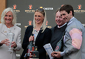June 10th 2017, Chester Racecourse, Cheshire, England; Chester Races Horse racing; Dougie Costello picks up his prize for winning the Whitley Neill Gin Stakes on Dragon King