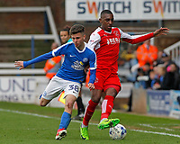 Fleetwood Town's Amari'i Bell battles with Peterborough United's Andrea Borg<br /> <br /> Photographer David Shipman/CameraSport<br /> <br /> The EFL Sky Bet League One - Peterborough United v Fleetwood Town - Friday 14th April 2016 - ABAX Stadium  - Peterborough<br /> <br /> World Copyright &copy; 2017 CameraSport. All rights reserved. 43 Linden Ave. Countesthorpe. Leicester. England. LE8 5PG - Tel: +44 (0) 116 277 4147 - admin@camerasport.com - www.camerasport.com