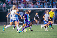 Allston, MA - Sunday July 31, 2016: Jamia Fields, Louise Schillgard during a regular season National Women's Soccer League (NWSL) match between the Boston Breakers and the Orlando Pride at Jordan Field.