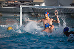 LOS ANGELES, CA - DECEMBER 03:  Alek Wolf (1) of UCLA attempts to save a shot during the Division I Men's Water Polo Championship held at the Uytengsu Aquatics Center on the University of Southern California campus on December 3, 2017 in Los Angeles, California. UCLA defeated USC 5-7 to win the National Championship. (Photo by Justin Tafoya/NCAA Photos via Getty Images)