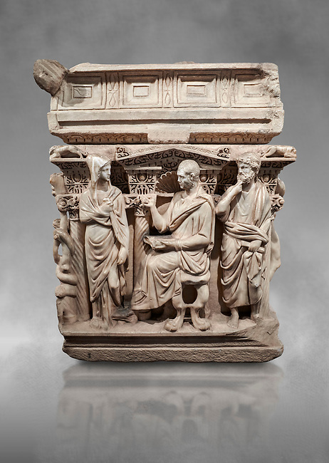 "End panel of a Roman relief sculpted Hercules sarcophagus with kline couch lid, ""Columned Sarcophagi of Asia Minor"" style typical of Sidamara, 250-260 AD, Konya Archaeological Museum, Turkey."