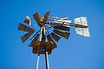 David Bradley windmill with twisted wind wheel with crescent moon, Nevada