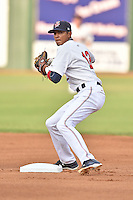 Elizabethton Twins second baseman Nelson Molina (12) makes the turn on a double play during a game against the Johnson City Cardinals on July 30, 2015 in Elizabethton, Tennessee. The Twins defeated the Cardinals 13-4. (Tony Farlow/Four Seam Images)