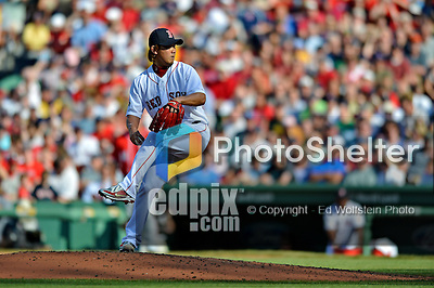 9 June 2012: Boston Red Sox pitcher Daisuke Matsuzaka on the mound for his first major league start after having Tommy John surgery, in a game against the visiting Washington Nationals at Fenway Park in Boston, MA. The Nationals defeated the Red Sox 4-2 in the second game of their 3-game series. Mandatory Credit: Ed Wolfstein Photo