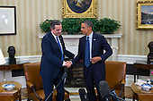 United States President Barack Obama (R) and Prime Minister Antonis Samaras of Greece (L) shake hands after a bilateral meeting in the Oval Office in Washington, DC, USA, 08 August 2013. The White House said Obama's meeting with Samaras will 'underscore our ongoing support for Greece's efforts to reform its economy and promote a return to prosperity.'<br /> Credit: Jim LoScalzo / Pool via CNP