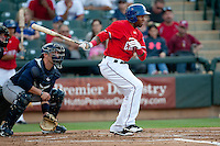 Round Rock Express outfielder Julio Borbon #20 during at bat the Pacific Coast League baseball game against the New Orleans Zephyrs on May 2, 2012 at The Dell Diamond in Round Rock, Texas. The Express defeated the Zephyrs 10-5. (Andrew Woolley / Four Seam Images)