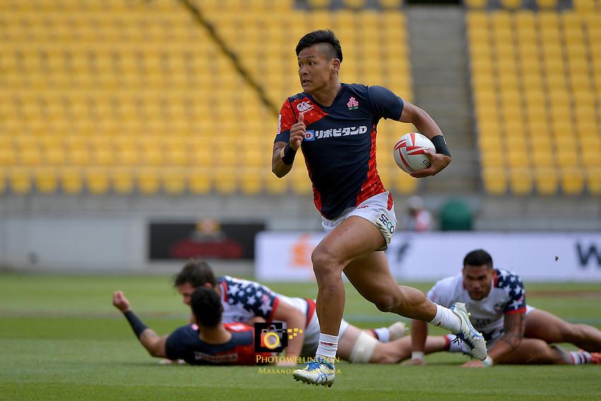 Hisayoshi Matsuoka ( 松岡久善 ) in action during the HSBC Wellington Sevens at Westpac Stadium, Wellington, New Zealand on Sunday 29January 2017.<br /> Photo by Masanori Udagawa<br /> www.photowellington.photoshelter.com.