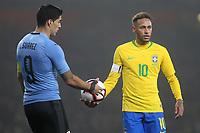 Luis Suarez of Uruguay and Brazil's Neymar Jr during Brazil vs Uruguay, International Friendly Match Football at the Emirates Stadium on 16th November 2018