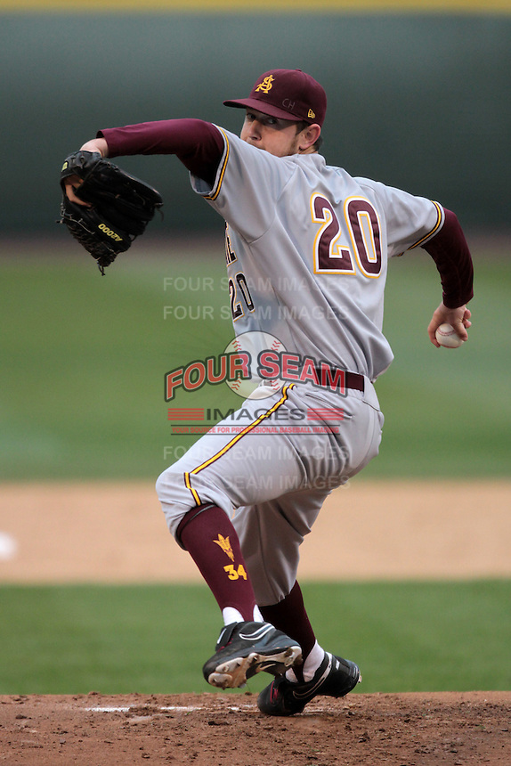 Brady Rodgers #20 of the Arizona State Sun Devils pitches against the UCLA Bruins at Jackie Robinson Stadium on March 16, 2012 in Los Angeles,California. UCLA defeated Arizona State 6-5.(Larry Goren/Four Seam Images)