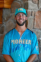 Dean Jackson (34) of the Missoula Osprey and the Pioneer League All-Stars poses for a photo during activities before the 2nd Annual Northwest League-Pioneer League All-Star Game at Snowbasin Resort on August 1, 2016 in Ogden, Utah. (Stephen Smith/Four Seam Images)