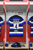 A general view of Levi Douglas' spot in the home changing rooms. Anglo-Welsh Cup Final, between Bath Rugby and Exeter Chiefs on March 30, 2018 at Kingsholm Stadium in Gloucester, England. Photo by: Patrick Khachfe / Onside Images