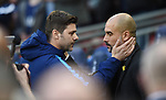 Tottenham Hotspur Manager Mauricio Pochettino and Manchester City Manager Josep Guardiola before the start of the premier league match at the Wembley Stadium, London. Picture date 14th April 2018. Picture credit should read: Robin Parker/Sportimage