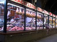 Butcher shop meat market in Palazzao della Ragione, Padua, Italy - No Release Availabl
