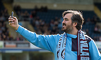Brian Quinn takes a selfie during The Impractical Jokers (Hit US TV Comedy) filming at Wycombe Wanderers FC at Adams Park, High Wycombe, England on 5 April 2016. Photo by Andy Rowland.
