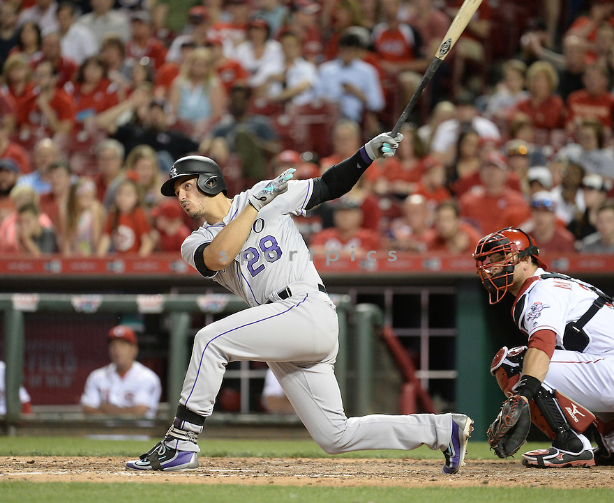 Colorado Rockies Nolan Arenado (28) during a game against the Cincinnati Reds on April 19, 2016 at the Great American Ball Park in Cincinnati, OH. The Reds beat the Rockies 4-3.
