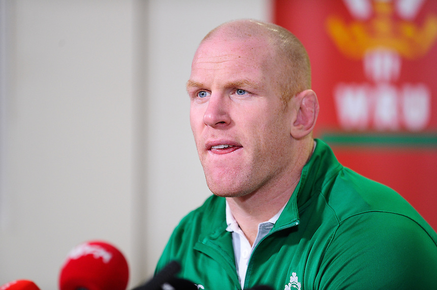 Ireland's Paul O'Connell during todays press conference <br /> <br /> Photographer Craig Thomas/CameraSport<br /> <br /> International Rugby Union - 2015 RBS 6 Nations Championship - Ireland Training Session - Friday 13th March 2015 - Millennium Stadium - Cardiff<br /> <br /> &copy; CameraSport - 43 Linden Ave. Countesthorpe. Leicester. England. LE8 5PG - Tel: +44 (0) 116 277 4147 - admin@camerasport.com - www.camerasport.com