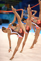 August 24, 2008; Beijing, China; (Foreground) Katerina Pisetsky and rhythmic group from Israel perform 5-ropes routine in the  Group All-Around final at 2008 Beijing Olympics..(©) Copyright 2008 Tom Theobald