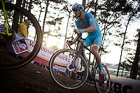 from very early on it's clear that former double cx world champion Lars Boom (NLD/Astana) won't be playing first violin in this first cx-race for him in recent years (he's very far back in the field for the entire race)<br /> <br /> <br /> UCI Cyclocross World Cup Heusden-Zolder 2015