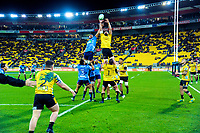 Blues' Gerard Cowley-Tuioti and Hurricanes' Blade Thomson compete for lineout ball during the Super Rugby match between the Hurricanes and Blues at Westpac Stadium in Wellington, New Zealand on Saturday, 7 July 2018. Photo: Dave Lintott / lintottphoto.co.nz
