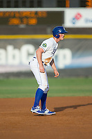 Kort Peterson (8) of the Burlington Royals takes his lead off of second base against the Bluefield Blue Jays at Burlington Athletic Stadium on June 28, 2016 in Burlington, North Carolina.  The Royals defeated the Blue Jays 4-0.  (Brian Westerholt/Four Seam Images)