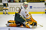 7 February 2009: University of Vermont Catamount goaltender Rob Madore, a Freshman from Venetia, PA, warms up prior to facing the Providence College Friars in the second game of a weekend series at Gutterson Fieldhouse in Burlington, Vermont. The Catamounts swept the 2-game series notching 4-1 wins in both games. Mandatory Photo Credit: Ed Wolfstein Photo