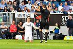07.10.2018, wirsol Rhein-Neckar-Arena, Sinsheim, GER, 1 FBL, TSG 1899 Hoffenheim vs Eintracht Frankfurt, <br /><br />DFL REGULATIONS PROHIBIT ANY USE OF PHOTOGRAPHS AS IMAGE SEQUENCES AND/OR QUASI-VIDEO.<br /><br />im Bild: Luka Jovic (Eintracht Frankfurt #8), Schiedsrichter Daniel Siebert<br /><br />Foto &copy; nordphoto / Fabisch
