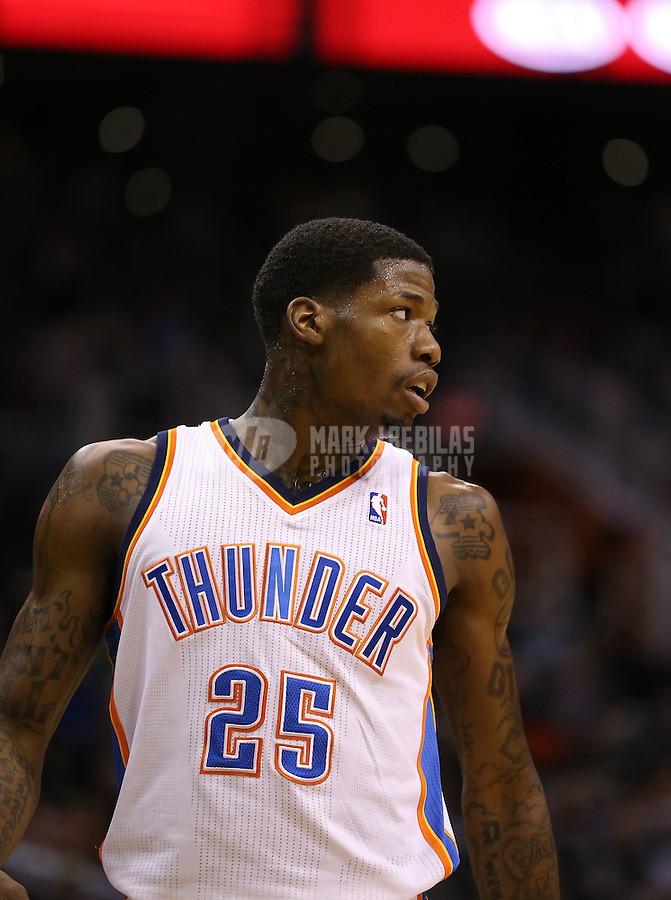 Feb. 10, 2013; Phoenix, AZ, USA: Oklahoma City Thunder shooting guard DeAndre Liggins against the Phoenix Suns at the US Airways Center. Mandatory Credit: Mark J. Rebilas-