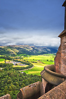 Looking out at the top of the William Wallace Monument in Sterling Scotland