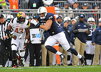 01 November 2014:  Penn State TE Jesse James (18) runs downfield after a catch. The Maryland Terrapins defeated the Penn State Nittany Lions 20-19 at Beaver Stadium in State College, PA.